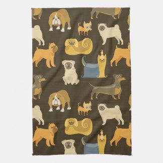 Miscellaneous dogs wallpaper tea towel