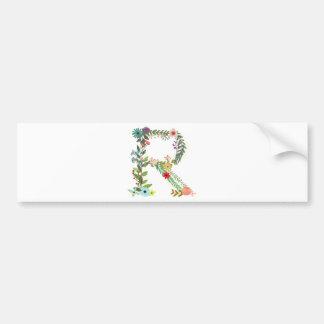 Miscellaneous - Floral Alphabet: Letter R Bumper Sticker