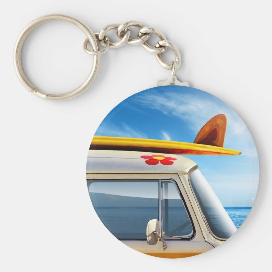 Miscellaneous - Surfing & Wave Patterns Three Basic Round Button Key Ring