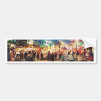 Miscellaneous - Watercolor Night City Pattern Bumper Sticker