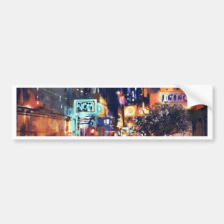 Miscellaneous - Watercolor Night City Three Bumper Sticker