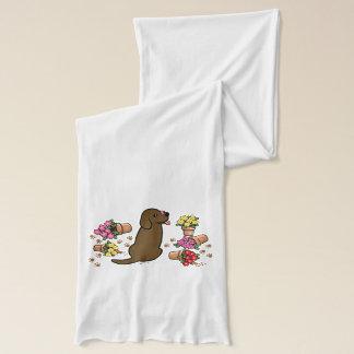 Mischievous Chocolate Labrador Scarf