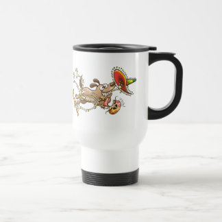 Mischievous dog stealing a Mexican skeleton Travel Mug