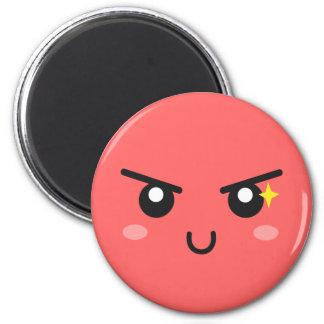 Mischievous face with evil sparkle 6 cm round magnet