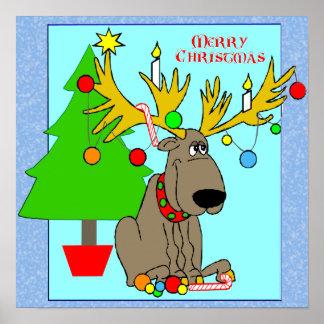 Mischievous Reindeer Poster