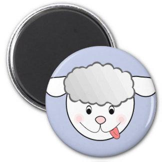 mischievous sheep face 6 cm round magnet