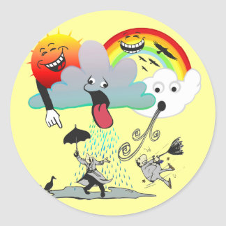 Mischievous Weather Classic Round Sticker