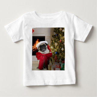 Misha pug wearing a bow for the Christmas holiday. Baby T-Shirt