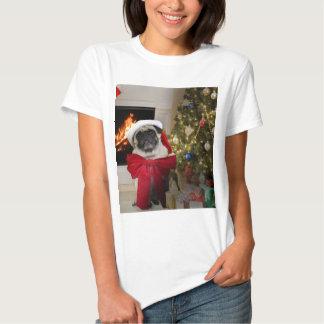 Misha pug wearing a bow for the Christmas holiday. Shirt