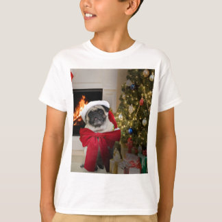 Misha pug wearing a bow for the Christmas holiday. T-Shirt