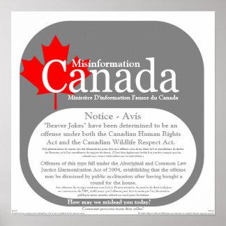 Misinformation Canada - Beaver Jokes Notice Poster