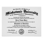 Miskatonic University Diploma -- Type in Your Name Poster