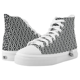 Mismatched Black & White Retro Patterns High Tops