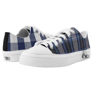 Mismatched Blue Plaid Printed Shoes
