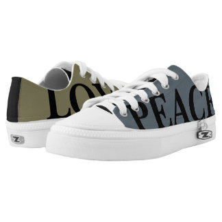 Mismatched Customizable Peace & Love Printed Shoes