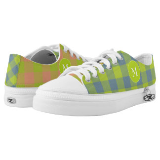 mismatched lime pink blue plaid patterned printed shoes