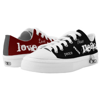Mismatched Peace & Love Printed Shoes