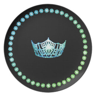 Miss America Aqua Crown Plastic Plates