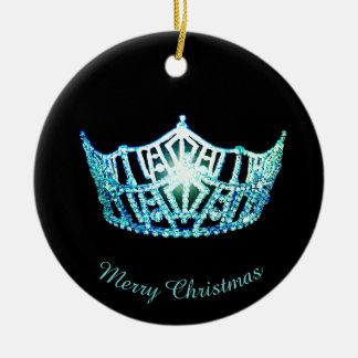 Miss America Aqua Crown Round Ornament