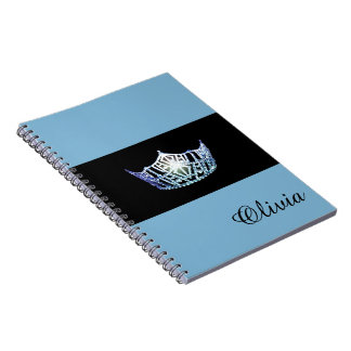 Miss America Baby Blue Crown Notebook- Custom Name Spiral Note Book