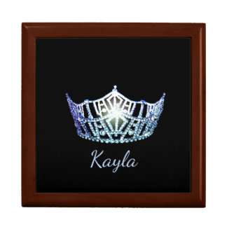 Miss America Blue Crown Personal Name Jewerly Box Large Square Gift Box