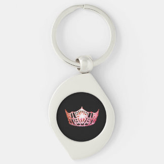 Miss America Coral Crown Metal Key chain Silver-Colored Swirl Key Ring