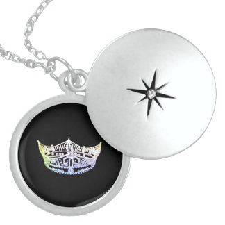 Miss America Crown Locket Necklace Sterling Silver
