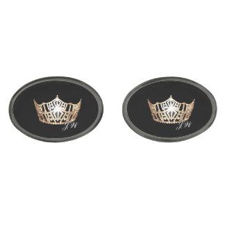 Miss America Gold Crown Cuff Links-w/Monogram Gunmetal Finish Cuff Links