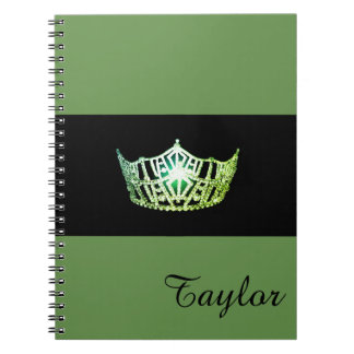 Miss America Green Crown Notebook- Custom Name Notebooks