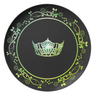 Miss America Green Crown Plate with Floral Border