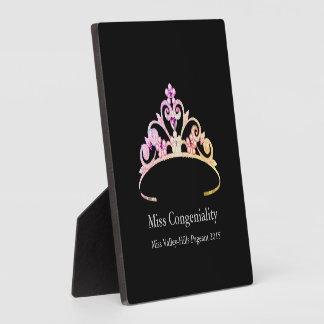 Miss America Multi Pink Tiara Crown Awards Plaque