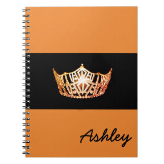 Miss America Orange Crown Notebook-Custom Name Notebook