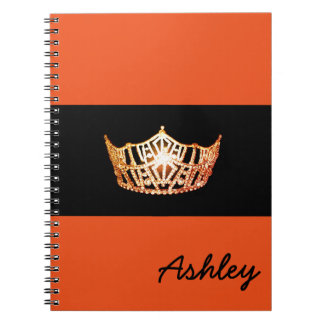 Miss America Orange Crown Notebook-Custom Name Spiral Notebook