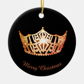 Miss America Orange Crown Round Ornament