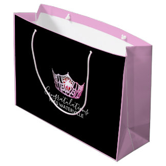 Miss America Pink Crown 2-Tone Pink Gift Bag-Large Large Gift Bag