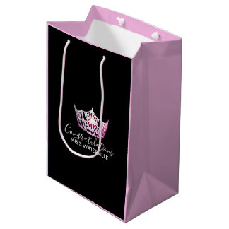 Miss America Pink Crown 2-Tone Pink Gift Bag-Med Medium Gift Bag