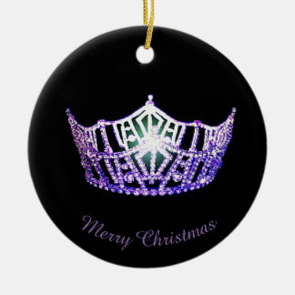 Miss America Purple Crown Round Ornament
