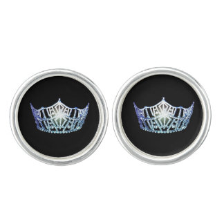 Miss America Silver Blue Crown Round Cuff Links