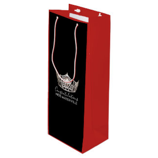 Miss America Silver Crown 2-Tone Red Gift Bag-Tall Wine Gift Bag