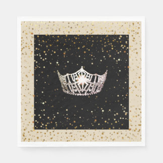 Miss America Silver Crown Gold Stars Paper Napkin