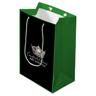 Miss America Silver Crown Green Gift Bag-Medium Medium Gift Bag