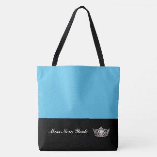 Miss America Silver Crown Tote Bag-Large Blue