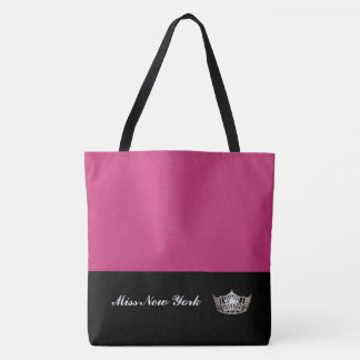 Miss America Silver Crown Tote Bag-Large Fuchsia