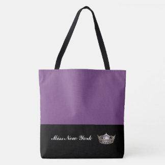 Miss America Silver Crown Tote Bag-Large Purple