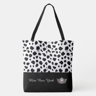 Miss America Silver Crown Tote Bag-Large Spotted