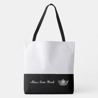 Miss America Silver Crown Tote Bag-Large White