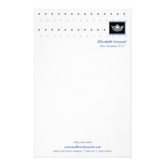 Miss America style Crown & Diamonds Stationery