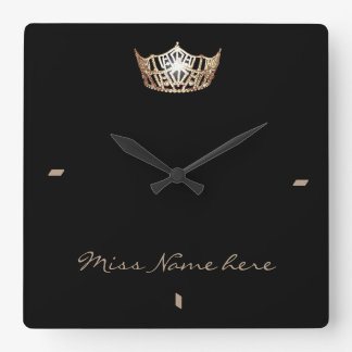Miss America style Gold Crown Clock