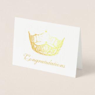 Miss America Style Gold Foil Crown Card-Congrats Foil Card