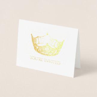 Miss America Style Gold Foil Crown Invitation-Sm Foil Card